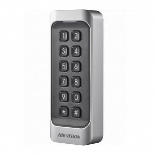 Hikvision Безконтактен четец за карти EM 125kHz. Поддържа Wiegand (w26/w34) и RS-485 интерфейси. Цифрова PIN клавиатура