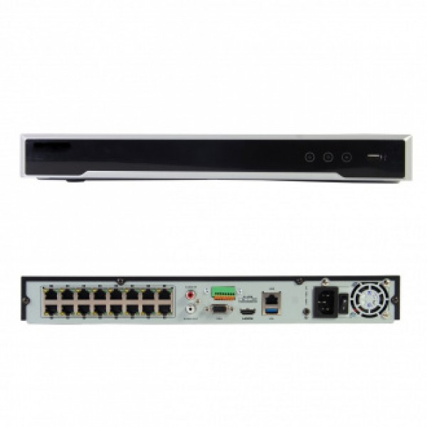 Hikvision 16-канален мрежов рекордер/сървър за видеонаблюдение с 16 вградени PoE порта